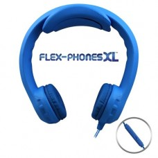 FLEX-PHONES XL Blue with in line mic, Indestructible, Single-Construction Headset For Teens