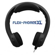 FLEX-PHONES XL Black, Indestructible, Single-Construction Headphones For Teens
