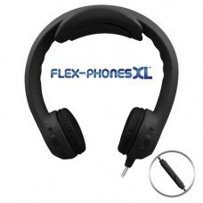 FLEX-PHONES XL Black with in line mic, Indestructible, Single-Construction Headset For Teens